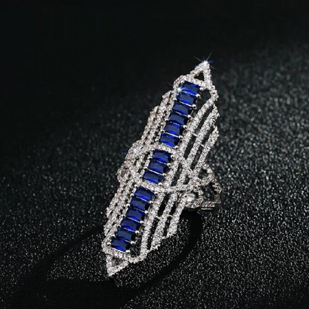 Fashion European Style Handmade Blue Zircon Inlaid Hyperbole Cocktail Ring