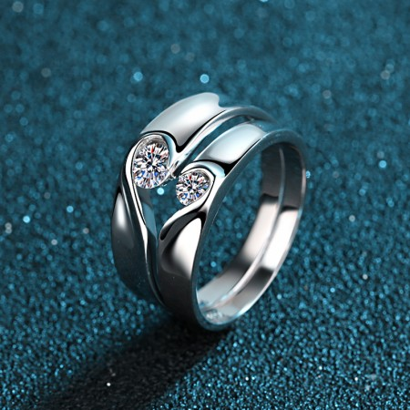 Romantic Split Joint Heart With Sparking Heart Lover's Sterling Silver Rings(Price For A Pair)
