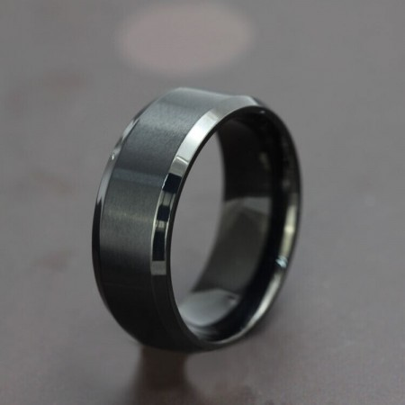 Simple Design Black Titanium Steel Men's Ring