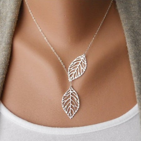Simple Two Leaves Shape Women Necklace