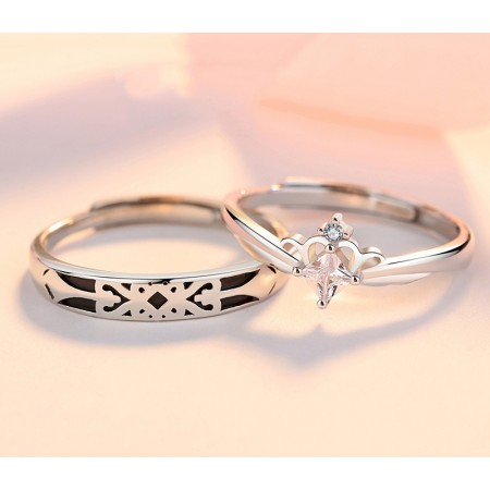 Princess And Knight Promise Rings For Couples In 925 Sterling Silver Adjustable Couple Rings