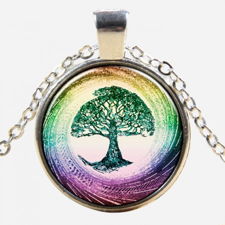 Charming Silver-plated Colorful Tree Shape Time Gemstone Necklace For Women