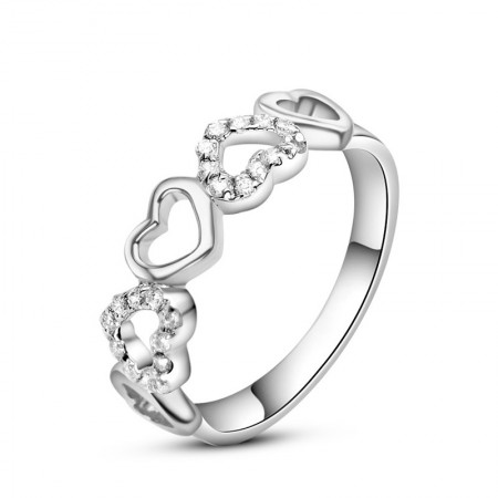 Heart-Shaped S925 Silver Inlaid Shine Cubic Zirconia Engagement Ring
