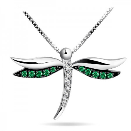 925 Sterling Silver Dragonfly Necklace With Cubic Zirconia