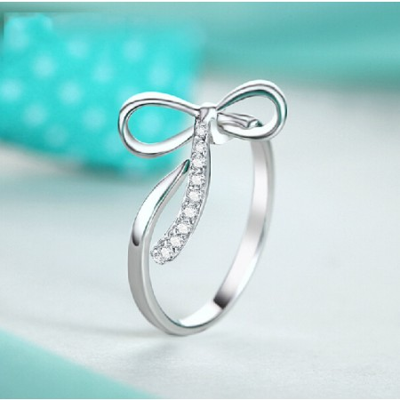 Adjustable White Gold Plated 925 Sterling Silver Opening Ring