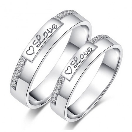 Heart Of Love White Gold Plated 925 Sterling Silver Couple Rings(Price For a Pair)