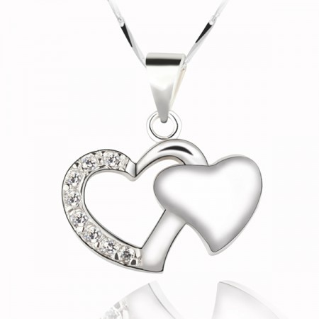 Two Hearts 925 Sterling Silver Pendant