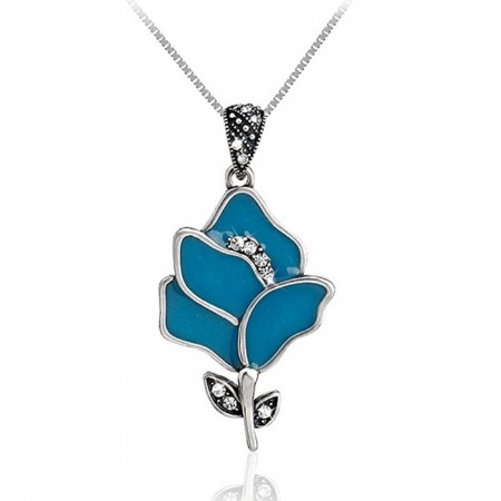 925 Sterling Silver Blue Enamel Flower Pendant With CZ Inlaid