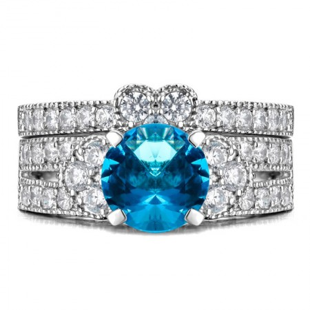 Shining 925 Sterling Silver  Blue  CZ Inlaid Engagement Ring Set