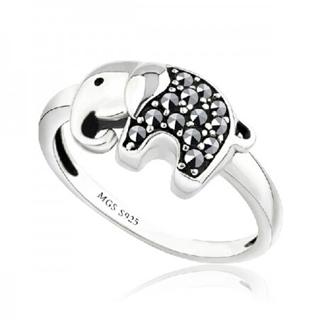 Calf Elephant 925 Sterling Silver Ring With Marcasite
