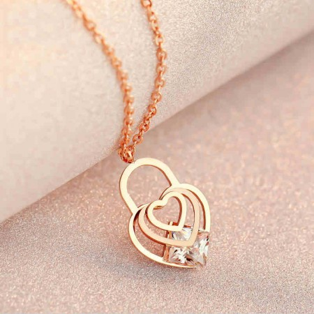 Elegant Cute Plated 18K Rose Gold Heart Necklace
