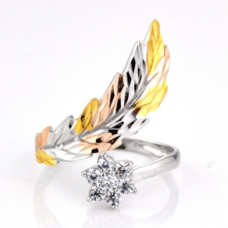 Unique Three Color 925 Sterling Silver Opening Women's Ring