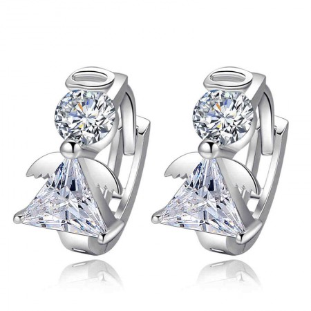 Luxury 925 Sterling Silver Crystal Angel Women's Earring