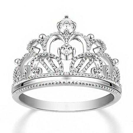 Elegant NSCD Diamond Decorated Crown Women's Ring