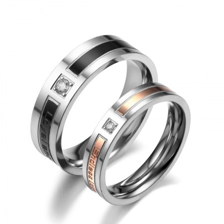 Stunning Design 'Loyal And Steadfast' And 'Endless Love' Engraved Lover's Titanium Ring(Price For A Pair)
