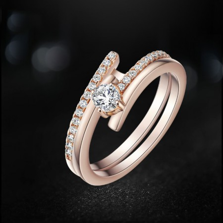Fashion AAA zircon rose gold 925 Sterling Silver Dual Ring