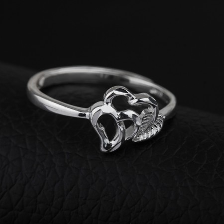 Contracted Heart-Shaped 925 Sterling Silver Opening Women's Ring