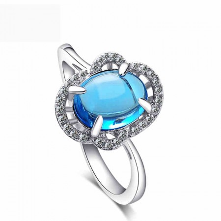 Cute Love Letter Blue CZ Inlaid 925 Sterling Silver Ring