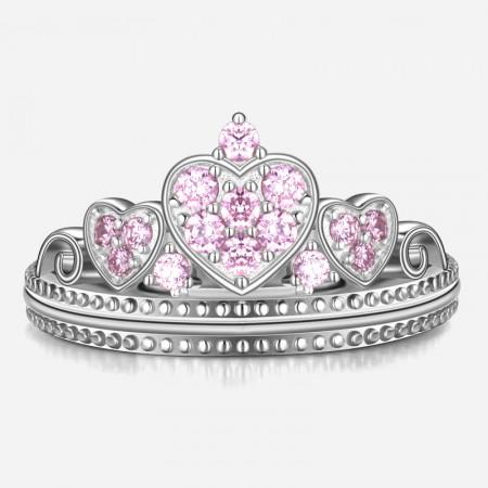 Original Designed Heart Element Pink CZ 925 Sterling Silver Ring