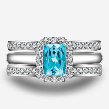 Gorgeous CZ Inlaid 925 Sterling Silver Three-Piece Ring Set
