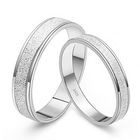 Lovely Silver Pearl Sand Surface With 925 Sterling Silver Lover's Rings(Price For A Pair)