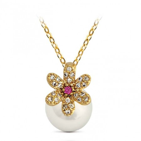 Fashion Sunflower Alloy Crystal Pearl Women's Clavicle Necklace