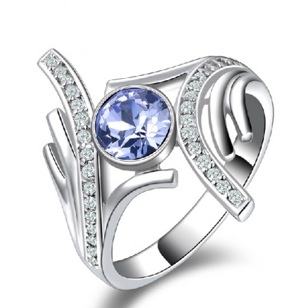 Elegant 925 Sterling Silver Blue Zircon For Women's Ring
