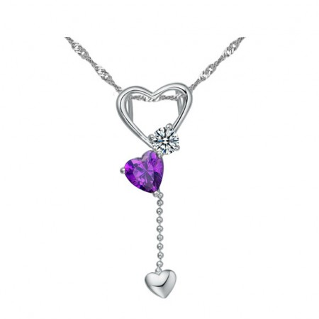 Lovely 925 Sterling Silver Zircon Heart For Women's Necklace