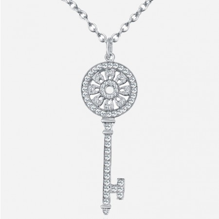 Beautiful 925 Sterling Silver Sunflower Key Fashion Necklace