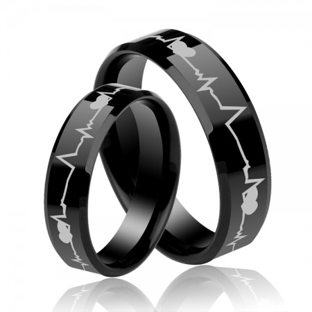 Heartbeat Lovers Telepathy Rings Top Tungsten Steel Rings For Lovers(Price For a Pair)