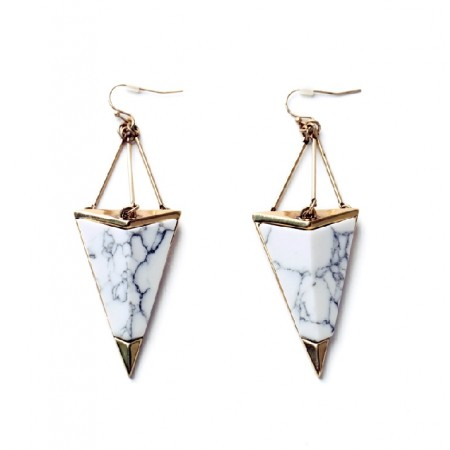 Fashion Western Style Alloy Geometric Triangular Stone Drop Earrings