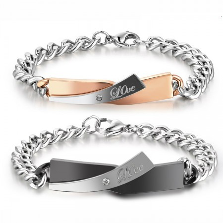"""Beauty And The Beast"" Love Theme Titanium Steel Lover Bracelets (Free Engraving) (Price For a Pair)"