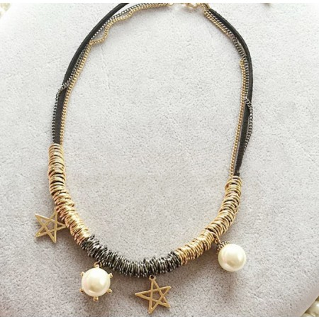 Hyperbolic Personality Multi-Storey Alloy Star Pearl women's Necklace