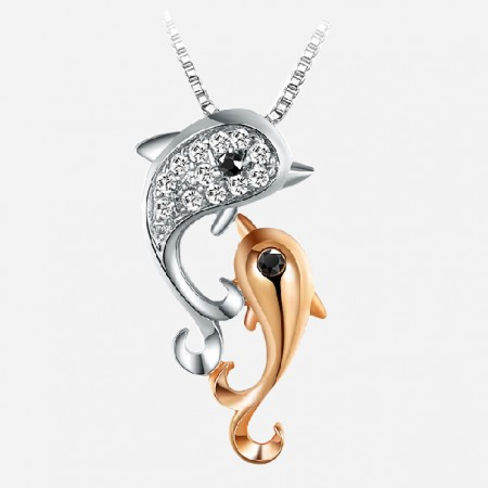 Lovely 925 Sterling Silver Dolphin For Women's Necklace