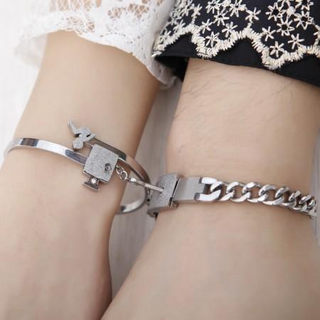 New Romantic Design Dull Polish Forever Love Lock&Key Lover's Titanium Bracelets, (Price For A Pair)