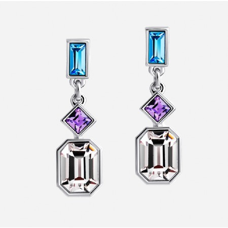 Elegant Luxury Alloy Colourful Crystal Stup Earring For Women