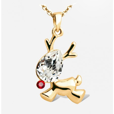 Beautiful Alloy Crystal Christmas Elk Fashion Necklace For Women