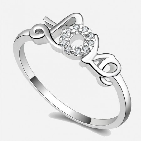 Charming 925 Sterling Silver LOVE Diamond Women's Ring