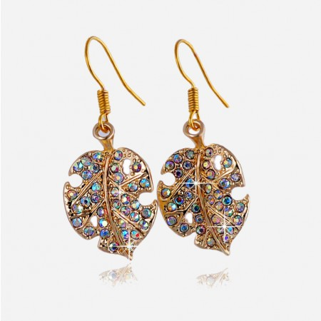 Fashion Alloy Crystal Leaf Drop Earrings For Women