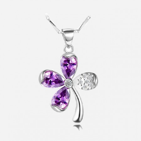 Beautiful 925 Sterling Silver Clover Necklace For Women