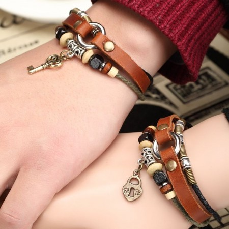 Retro Fashion Leather Belt And Beads Lovers Bracelet(Price For A Pair)