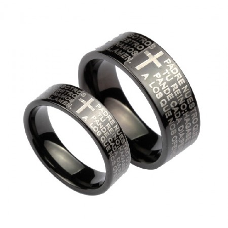 Bible And Cross Tungsten Rings For Lovers Wide Black Lover Rings(Price For a Pair)