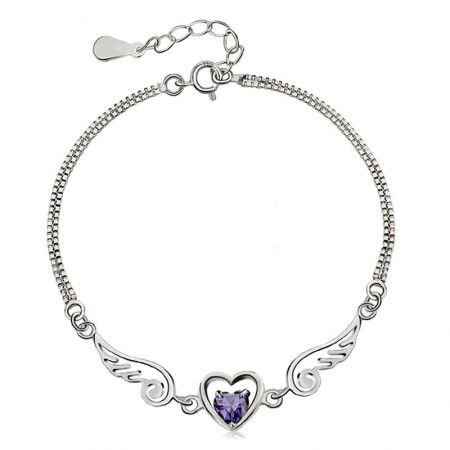 Sweet Heart And Angel Wings With Amethyst Women's Bracelet