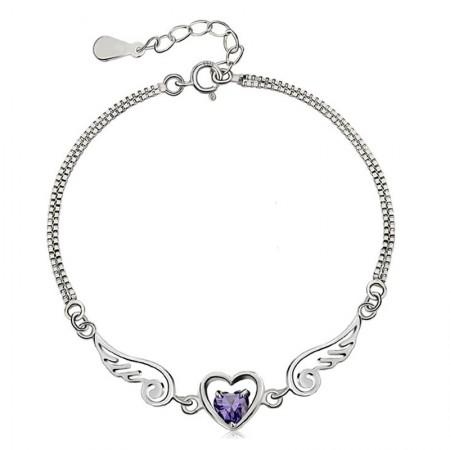 Sweet Heart And Angel Wings With Amethyst Women's Bracelet