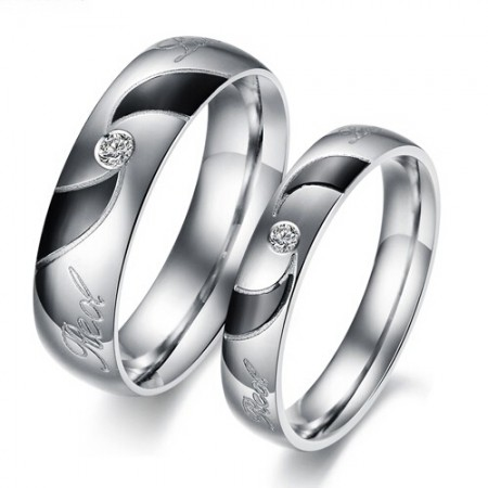 Love Of Spiral Titanium Steel Rings For Lover(Price For a Pair)