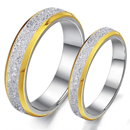 Dull Polish Titanium Steel Engravable Lover Rings With Golden Edge