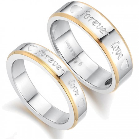 """Forever Love"" Engravable Titanium Steel Lover Rings With Black Healthy Bile Magnet(Price For A Pair)"