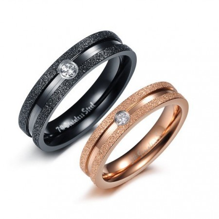 Dull Polish Lover Rings With Shining Crystal Drill 316L Stainless Steel Engravable(Price For A Pair)