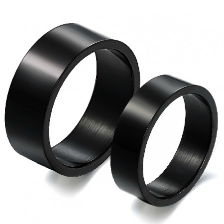 Pure Black Titanium Steel Lover Rings Engravable Wedding Bands Matching Set(Price For A Pair)
