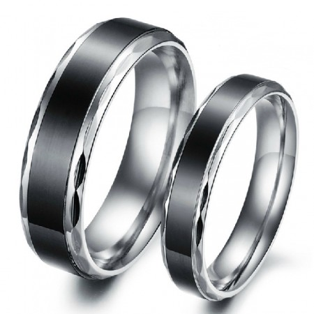 Black Titanium Steel Promise Ring For Lovers Couple Wedding Bands Engravable Matching Sets(Price For A Pair)